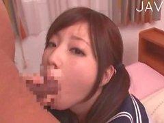 Jap teen is on her knees