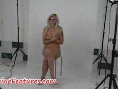Busty czech blonde has fun in backstage
