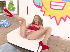 Jillian Janson in red high heels gets eaten out