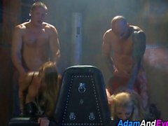 Busty vamps group fucked by hunks