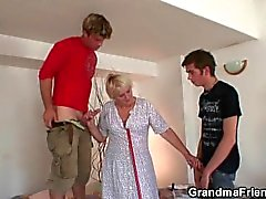 Hot threesome with very old granny