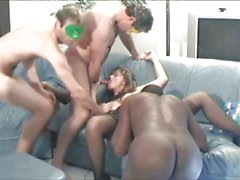 Gangbang MILF interracial group fuck