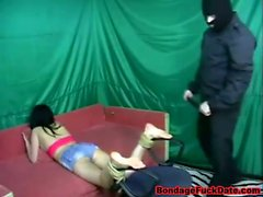 Asian girl feet whipped by big master