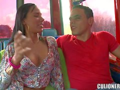 Petite Latina pamela with perfect body gets naughty in bus