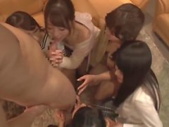One lucky guy fuck with five Japanese girls