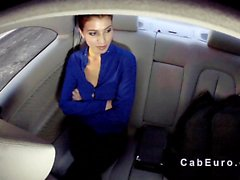 Pierced nose amateur bangs in fake taxi pov