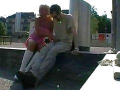 German Busty Blonde Fucked In Public