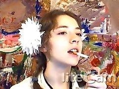 Russian Teen de fumer Fétichisme balancent la