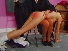 Teacher spanks her students