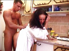Vagina stretching in the kitchen