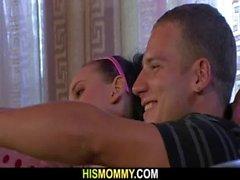 Naughty mom seduces snoozing son&#039_s GF