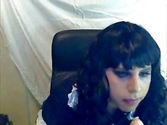 Amateur tranny self facial and sucking dildoing