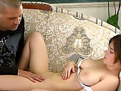 Teenie shows huge tits and gets devirginized
