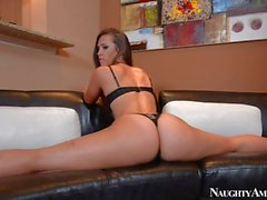 Flexible sexy Ass brunette enjoys in teasing on couch