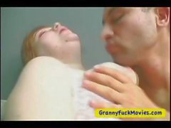 Fat and horny granny plays with young guy