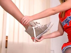 Cheerleader Lure - Lesbian Foot Fetish in The Locker Room