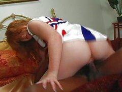 Redhead cheerleader fucking black quarterback