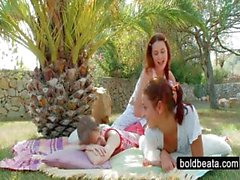 Outdoor lesbian scene with three teen hotties