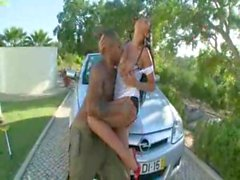 latina fucking on a opel tigra car hood