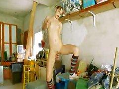 The most erotic garage girl strip
