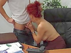 Office Hot Euro Olgun Redhead Bangs