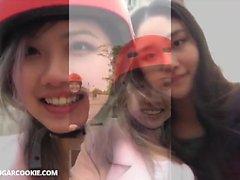 Kinky asian teens like to make out together