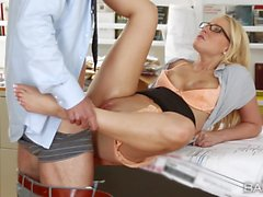 Vanessa Cage bends over the desk and takes her bosses cock