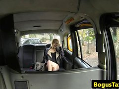 Smalltitted taxi babe grinding on cabbie