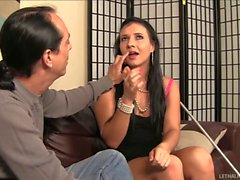 Blind girl Ashli Orion gives Handjob