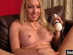 Using a Hitachi toy while riding him