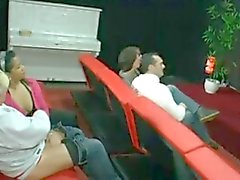 Two Swinger Couples at Adult Cinema