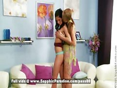 Fiva and Jessica blonde and brunette lesbian dolls touching and kissing