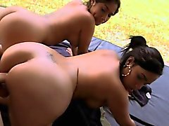 Two Brunette Babes Get Nailed By Their Friend in A Threesome