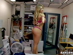 Capri Cavali flaunts her perfect tits and ass in the back room