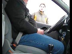 Nice Car flash-She Touch Him outdoor handjob