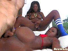 Black bigass beauty railed doggystyle in trio
