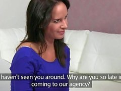 Female agent licks and fingers brunette in her office