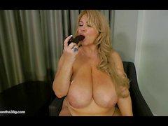 Grosses sexy Légende de Samantha 38G une pipe à brun Godes