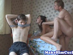 Euro girlfriend fucked hard while bf tiedup