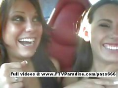 Risi and Renna easy going teenage horny lesbians in the car