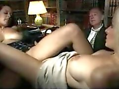 Two hot girls fucking in the book room
