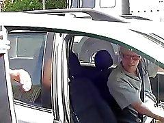 German redhead stops car for fucking