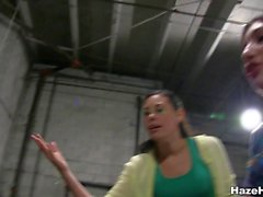 Pledges lesbian action in a warehouse