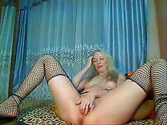 Blonde Russian Camgirl In Fishnet Stockings Masturbating