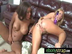 Interracial Lesbians Fuck With a Strapon 16