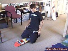 Straight skater punk cumming on skateboard