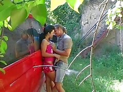 Young busty Ellis gets pounded outdoors