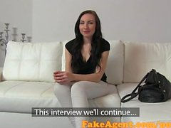 FakeAgent Pale young student takes Creampie in casting