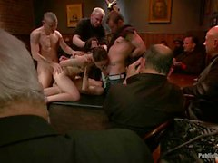 Wench acquires a rough group spanking for her twat