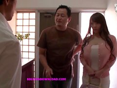 Asian with big tits wearing a purple bikini